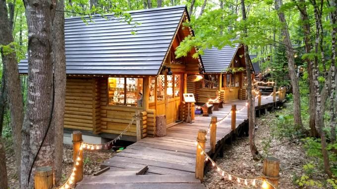 傍晚时分,灯光闪烁,每一个小木屋都透出温暖与明亮之光,像极了森林