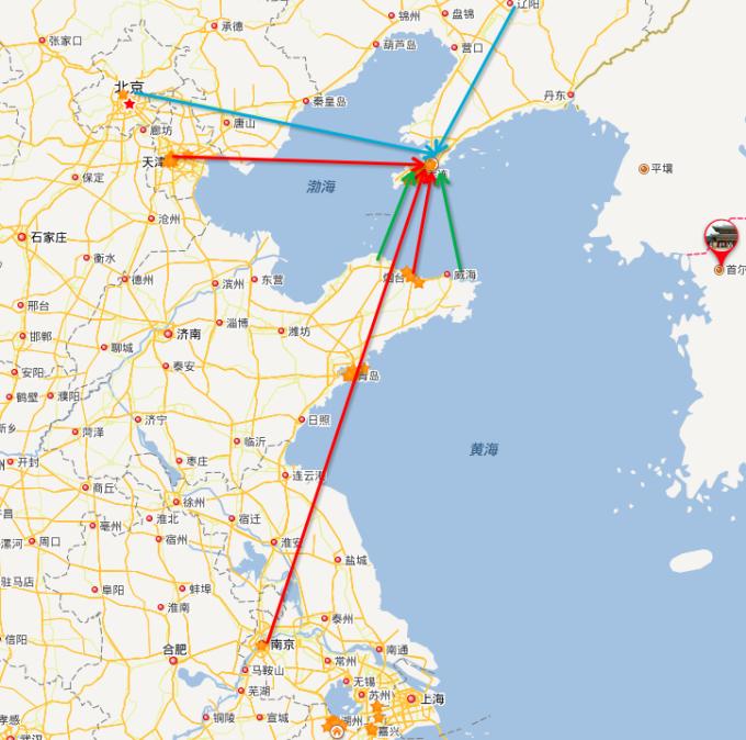 飞机:大连-南京