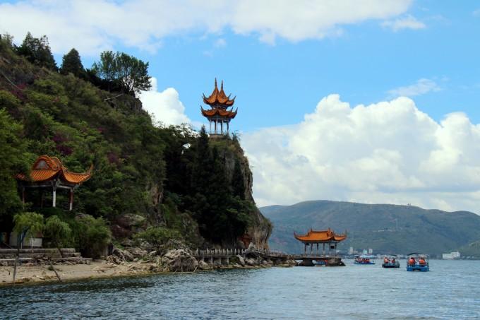抚仙湖禄充风景区笔架山 昆明滇池斗南湿地公园全景图